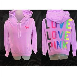 VS PINK Pullover Hoodie with Rainbow Logo Medium